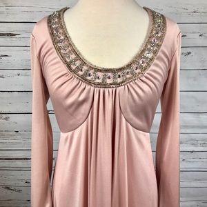 Large 70's pink maxi long sleeve maxi dress fancy